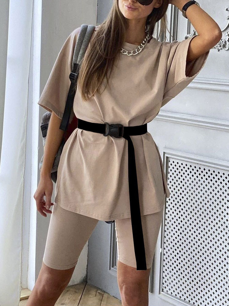 Simplee Outfits Tracksuits Bicycle-Suit Belt Sports Fashion Casual Summer Women's Home