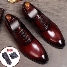 Phenkang męskie buty formalne oryginalne skórzane buty Oxford dla mężczyzn włoskie buty 2020 buty ślubne koronki skórzane buty do biura