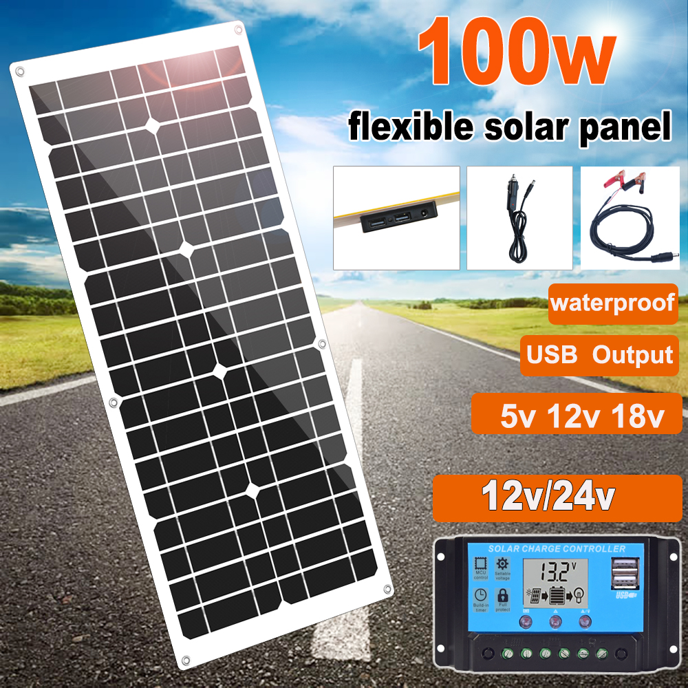 <font><b>100w</b></font> Flexible <font><b>Solar</b></font> <font><b>Panel</b></font> <font><b>12v</b></font> mono <font><b>Solar</b></font> cell charger 5v usb for mobilephone Outdoor Cycling Climbing Hiking Camping <font><b>12v</b></font> Battery image