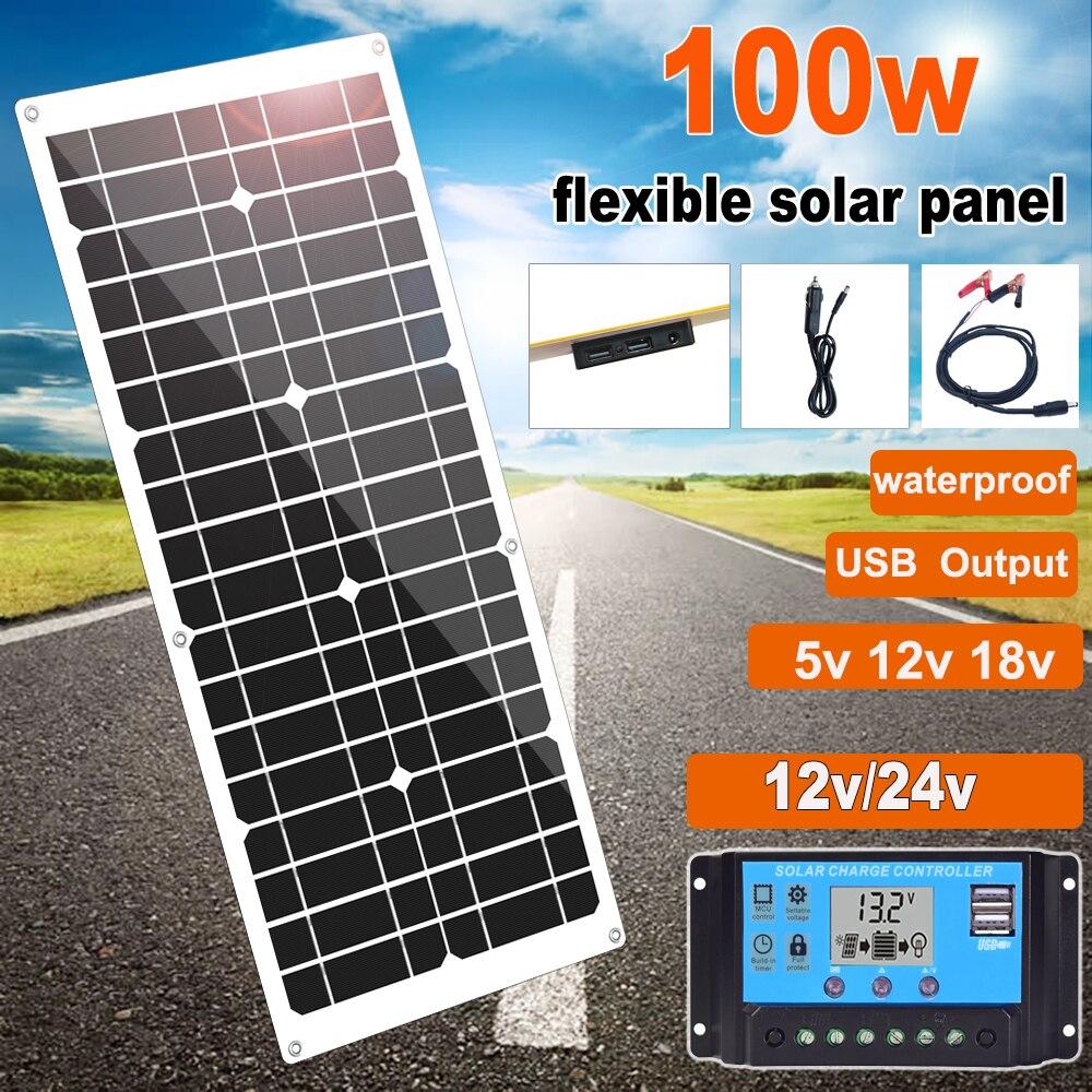 100w Flexible panneau solaire 12v mono solaire chargeur de cellules 5v usb pour téléphone portable en plein air cyclisme escalade randonnée Camping 12v batterie