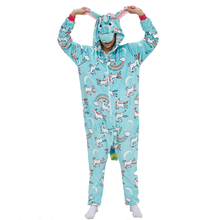 New Arrive Unicorn Women Pajama Kigurumis Blue Pegasus Adult Flannel Onepiece Sleepwear Party Cosplay Homewear Costume Apparel