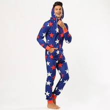 Stars Print One Piece Pajama for Men Hooded Zipper Pijama Hombre Adult Onesie Ma