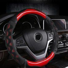 Anti deslizamento carro volante capa respirável couro do plutônio capas de direção adequado 37-38cm carro acessórios de decoração do automóvel