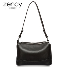 Zency 100% Genuine Leather Fashion Women Shoulder Bag Black White Handbag 3 Zippers Opening Lady Messenger Crossbody Purse Tote