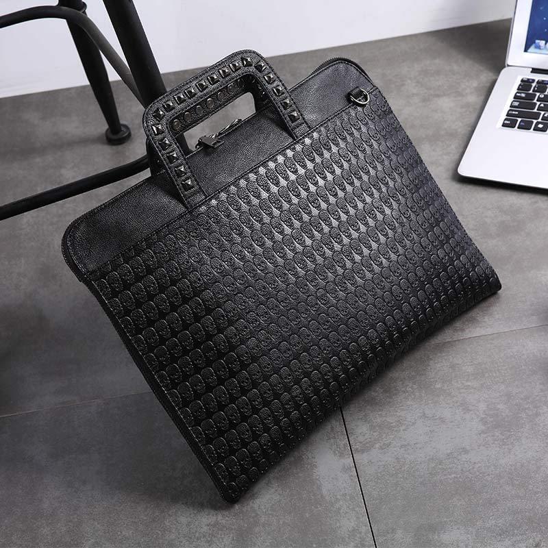 Newhotstacy Bag 092619 Men's Portable Briefcase Rivet Youth Fashion Men S Bags Single Shoulder Tote Bag