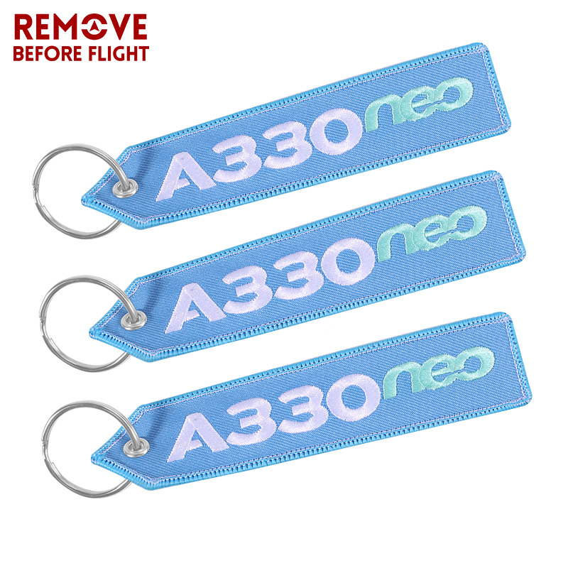 3 PCS AIRBUS Keychain Double-sided Embroidery A330 NEO Aviation Key Ring Chain For Aviation Gift Lanyard Light Blue Keychains