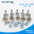 10PCS WH148 Potentiometer Kit Single Joint B1K 2K 5K 10K 20K 50K 100K 250K 500K 1M ohm 3Pin 15mm Shaft With Nut And Washe