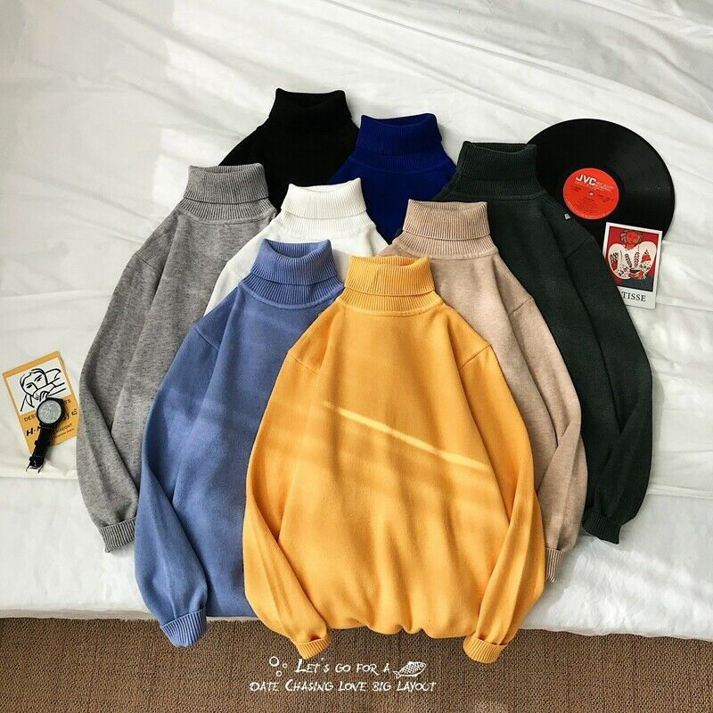 Meihuida Winter Men Korean Style Casual Roll Turtle Neck Long Sleeve Candy Colors Soft Knitted Loose Warm Sweater Pullover Tops
