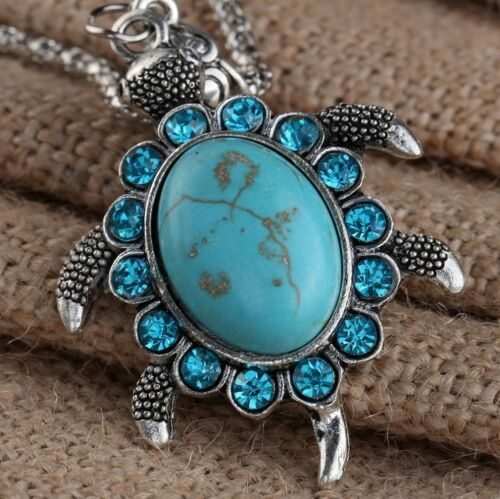 Collection Tibet Silver Lucky Turtle Necklace Natural Oval Turquoise Necklace Blessing Safe And Luck Good Gift