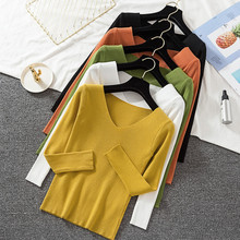 Women Casual Cashmere Jumper Sweater Long Sleeve Slim Fit V-neck Pure Sweaters Autumn Winter Solid Ladies Knitted Pullover Tops ronnykise knitted sweaters women fashion pullovers long sleeve sexy v neck casual tops autumn and winter cashmere sweater