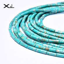 XJ Natural Circular Tube Stone Beads Colorful Spacer 38cm a Strand 4mmx13mm For Jewelry Making DIY Bracelet