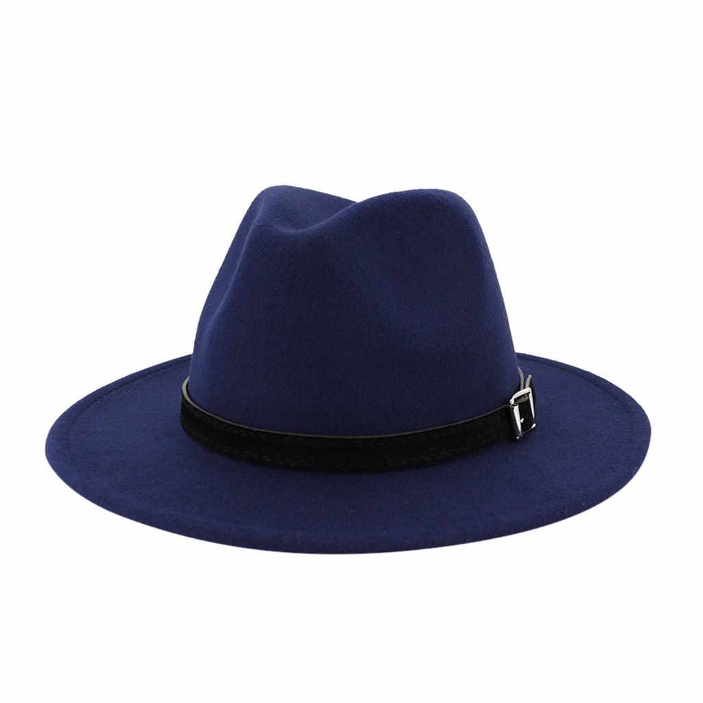 Fedora หมวกผู้หญิงขนสัตว์เทียมผู้หญิงฤดูหนาว Felt หมวกหมวกแฟชั่นผู้ชายสีดำด้านบนหมวกแจ๊ส Fedoras Chapeau Sombrero Mujer 0116