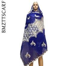 Новые африканские женские шарфы, мягкий хлопковый шарф, мусульманский шарф больших размеров для шалей BM614