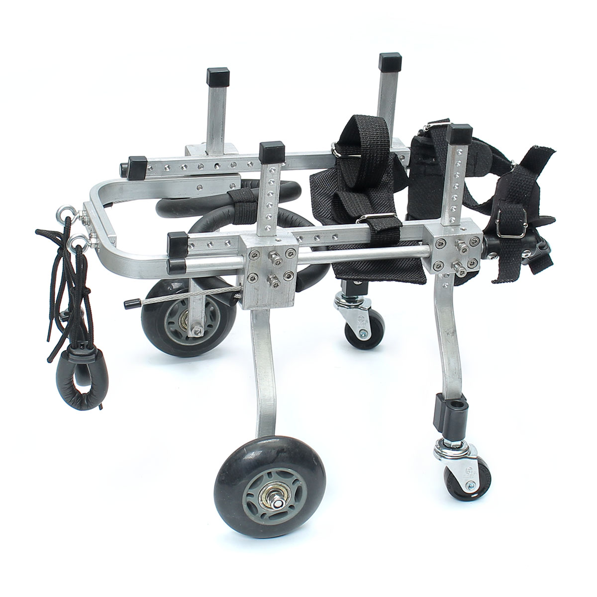 Entraînement professionnel fauteuil roulant chien de compagnie réhabilitation acier inoxydable 4 roues faible paralysé avant/arrière jambes chien réglable