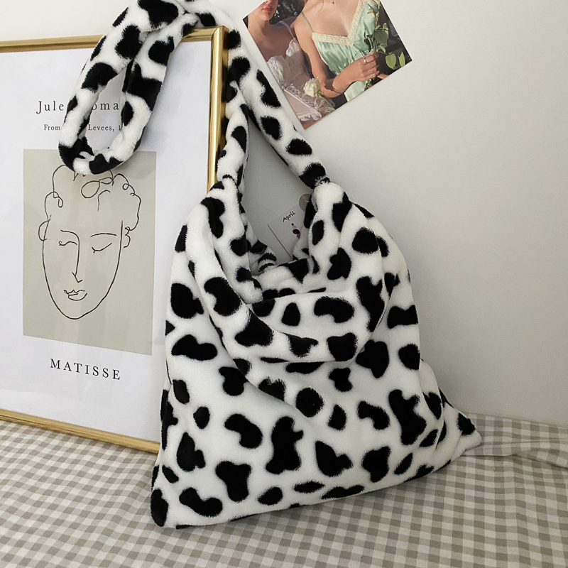 Fashion Cow pattern Shoulder Bag Women Plush Soft Autumn Winter Fluffy Female Totes Handbag Lady Girl Travel Purse sac a main