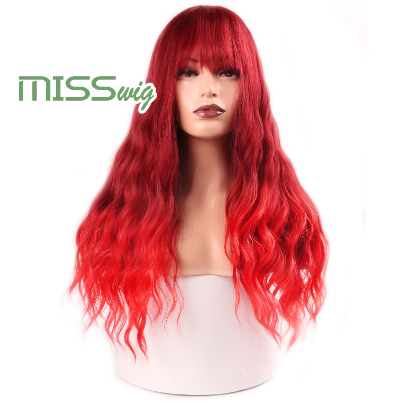 MISS WIG Long Wavy Wigs For Black Women African American Synthetic Hair Red Brown Wigs With Bangs Heat Resistant Wig