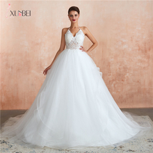 New Arrivals Vestidos De Noiva Bride Simple White Ivory Wedding Dresses Sexy Deep V-neck Lace Backless Bridal Gown CPS1433 polyester bride to be deep v lace sleepwear gown white