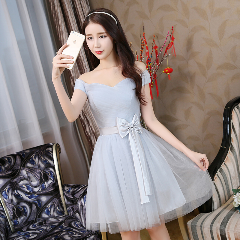 Gray Guest Wedding Party Dress Elegant Plus Size Tulle Junior Bridesmaid A-Line Short Party Dress Club Sexy Prom Simple Vestido