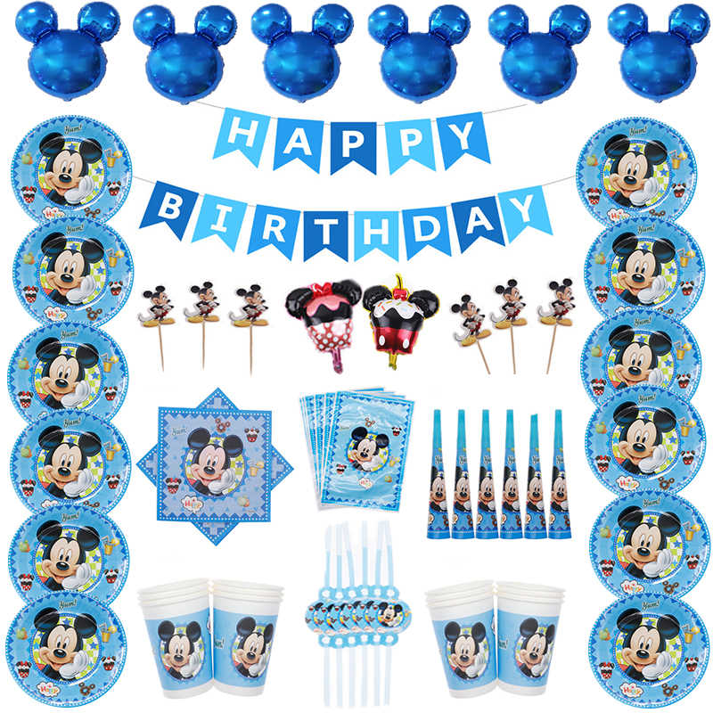 High Quality Blue Dessert Mickey Mouse Happy Birthday Party Decorations Paper Plate Cup Straw Napkins Disposable Tablewares Set