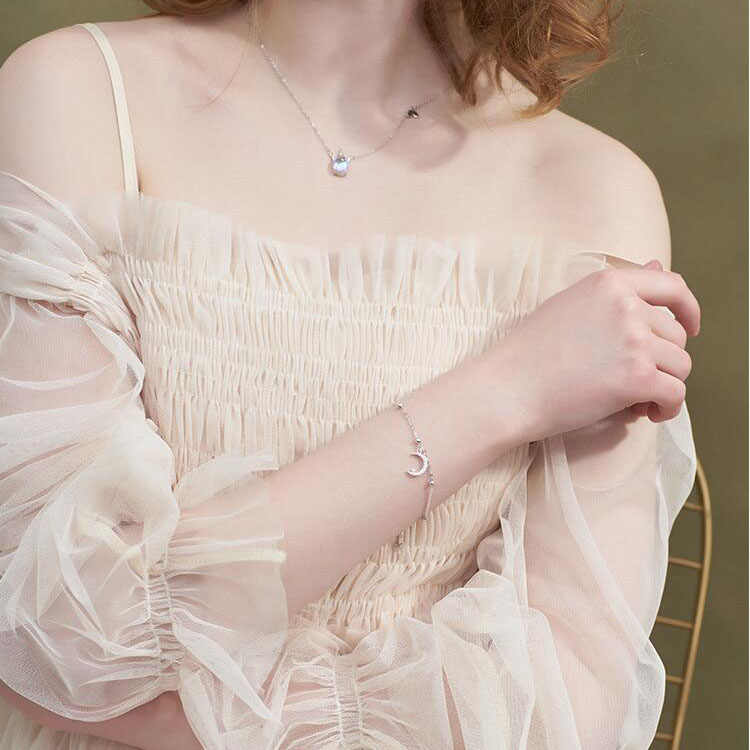 Anenjery romântico 925 prata esterlina zircon lua estrela pulseira para feminino presente menina pulseras S-B100