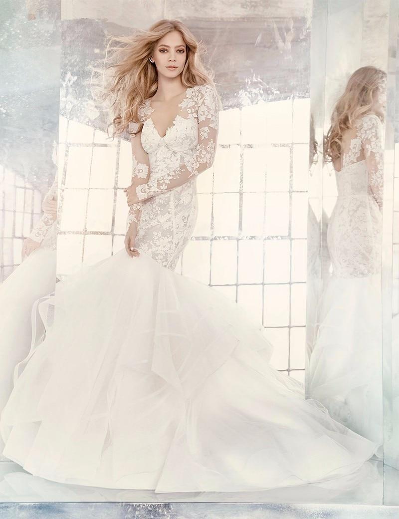2018 Spring Bridal Gown Detachable Long Sleeve Lace Bolero Tiered Train Mermaid Vestido De Noiva Mother Of The Bride Dresses