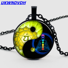2019.seven chakras yin and yang Tai Chi glass necklace silver plated necklace glowing yin yang necklace phoenix glass dome pendant tree of life silver plated chain necklace glow in the dark yin yang jewelry