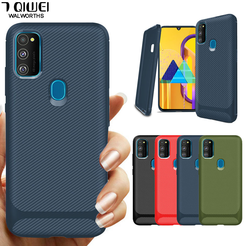 Carbon Fiber Silicone Soft Phone Case For Samsung Galaxy M21 M31 M30S A41 A21 A70E A10E A10S Cover Protective A21S A 21S