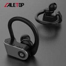 سماعات أذن لاسلكية للركض من Caletop TWS سماعات أذن رياضية مزودة بتقنية البلوتوث مع ميكروفون وسماعات أذن مزودة بخاصية ربط للأذن وإلغاء الضوضاء