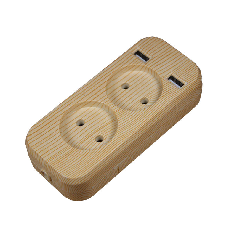 2019 New Design 2 Socket European 5V 2A USB Extension Socket LLEW-03 Wood Tree Color