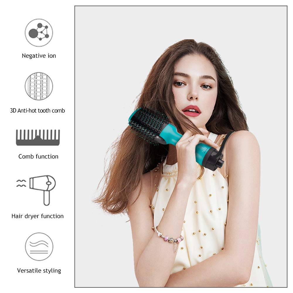 <font><b>2</b></font> in <font><b>1</b></font> Roller One-Step Hair Dryer & Volumizer Hot Air Brush Comb Blow Dryer Tangle Hairbrush For Hair Straightening & Curling image