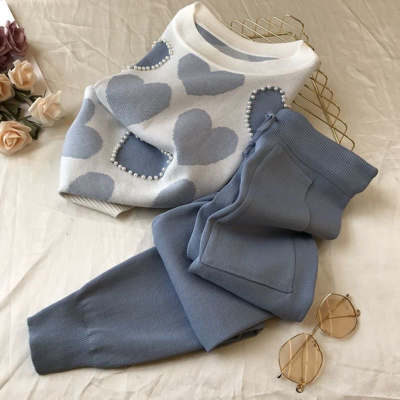 Korean summer Love printed knitted 2 Peice Set Women short sleeve beading Sweater Female tops+pants Suit pink casual Tracksuit