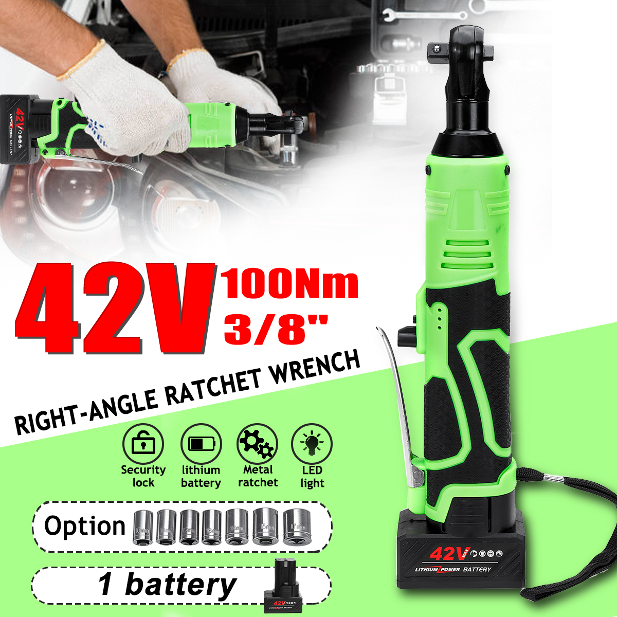 42V 3 8 Cordless Electric Ratchet Wrench Angle Drill Screwdriver Scaffolding 100NM Rechargeable Electric Spanner with 2 Battery