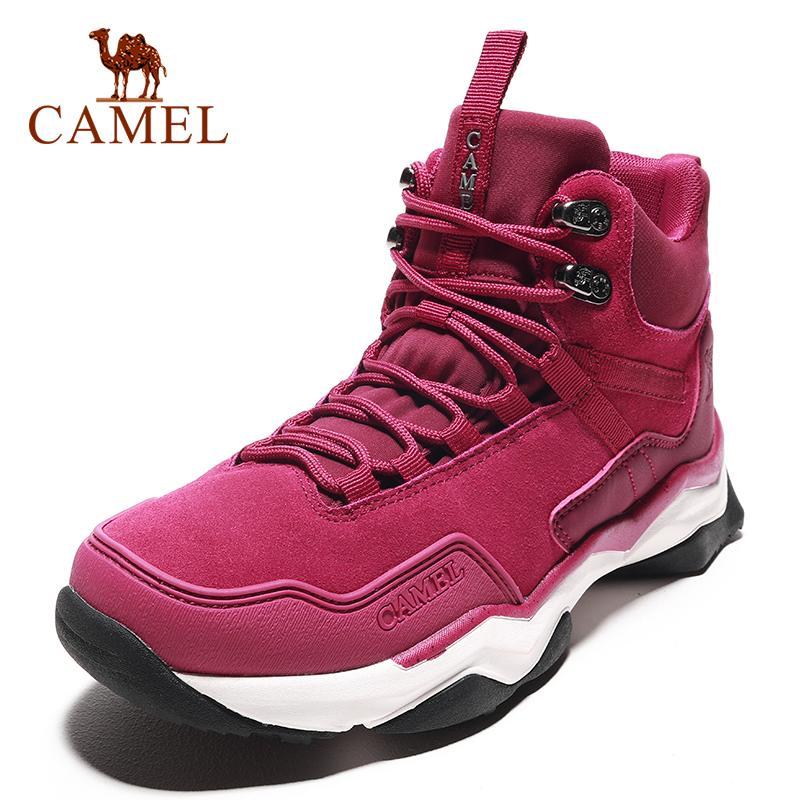 CAMEL Women Hiking Shoes Climbing Trekking Boots Outdoor Shoes Anti-slip Genuine Leather Damping Tactical Lace-up Boots Shoes