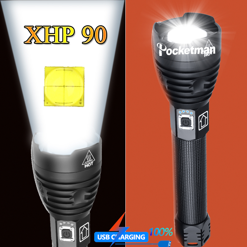 Most Powerful XHP90 LED Flashlight Brightest Zoom Torch XHP50 USB Rechargeable Lamp By 18650 26650 For Camping Hunting