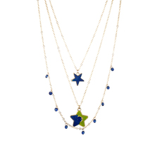 Fashion Trendy Sweet Star Pattern Necklace Three-layer Beautiful Simple Women Girl  Alloy