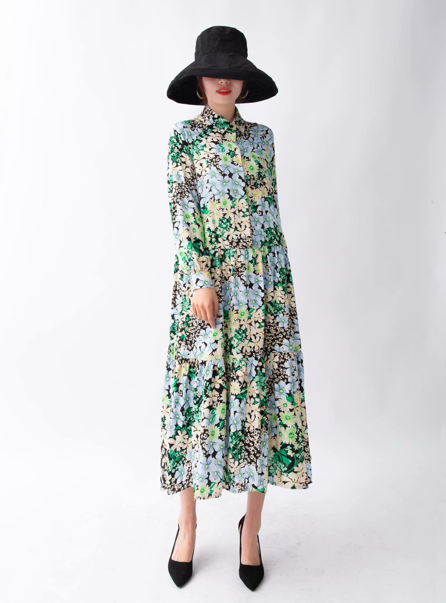 2020 New Spring Summer New Style European Collared Floral Printed Dress Zaraing Vadiming Sheining Women Female Dress
