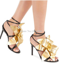 Lady New Gold Color Flower Sandals Shoes Women Sexy Strappy