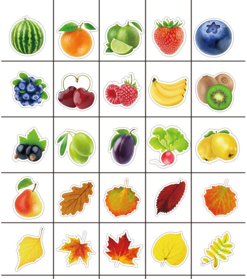 100Pcs Exquisite waterproof Fresh Fruits and Vegetables Stickers For Kitchen Bakery Cup Dish Refrigerator Kids Education Toys