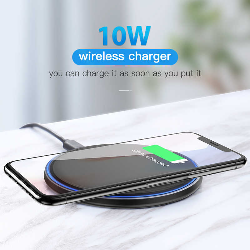 KUULAA 10 W Qi Беспроводное зарядное устройство для iPhone X/XS Max XR 8 зеркальное Беспроводное зарядное устройство для samsung S9 S10 + Note 9 8