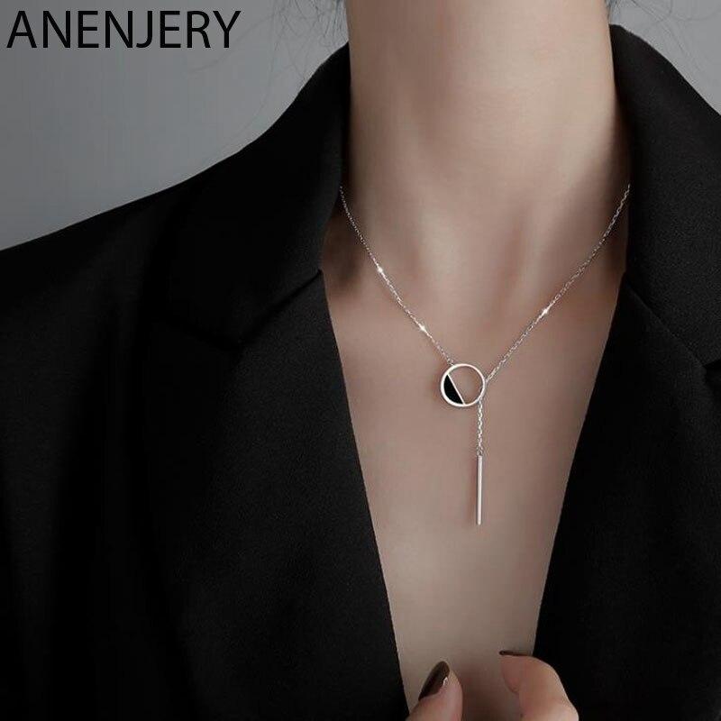 ANENJERY 925 ayar gümüş siyah yuvarlak kolye kadınlar için püskül kazak zinciri güzel el yapımı takı S-N304