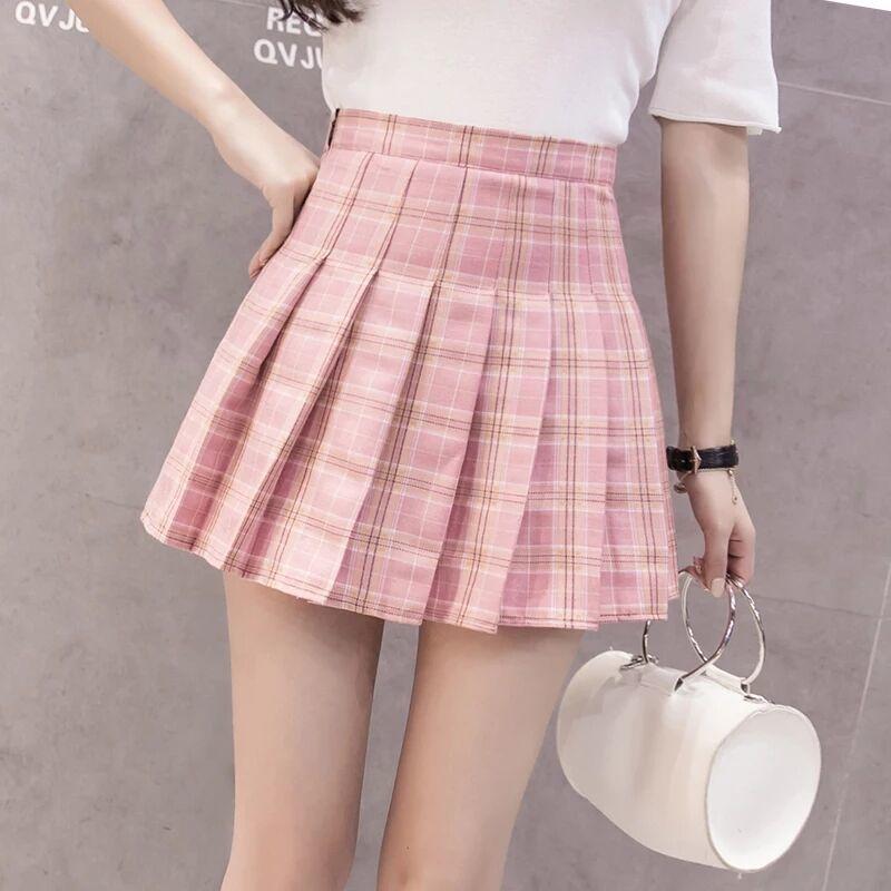 JK Plaid Pleated Skirt Girly Sexy Short Skirt Korean Style Spring Summer Skirt High Waist Short Skirt Women 2020 Hot Sale A030 5