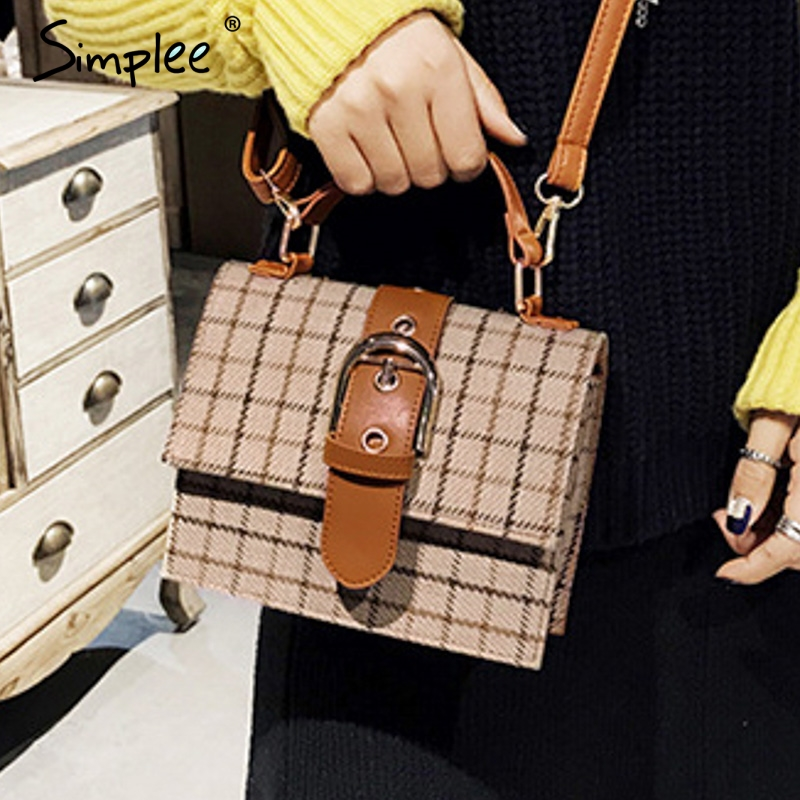 Simplee Luxury Women Shoulder Bag Streetwear Female Strap Plaid Bags Office Lady Autumn Winter Belt Work Wear Crossbody Hand Bag