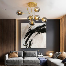 Modern LED lights Glass ball lamps Nordic hanging light bedroom pandent lighting living room bedroom office ceiling chandelier
