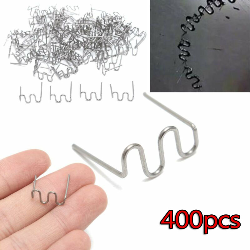 400pcs  0 8mm Stainless Steel Wave Flat Hot Staples Kit For Plastic Stapler Repair Welder Useful car replacement accessories