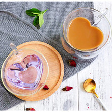 Heart Love Shaped Double Wall Glasses Mug Resistant Kungfu Tea Mugs Milk Lemon Juice Cup Drinkware Lover Coffee Cups Mug Gifts