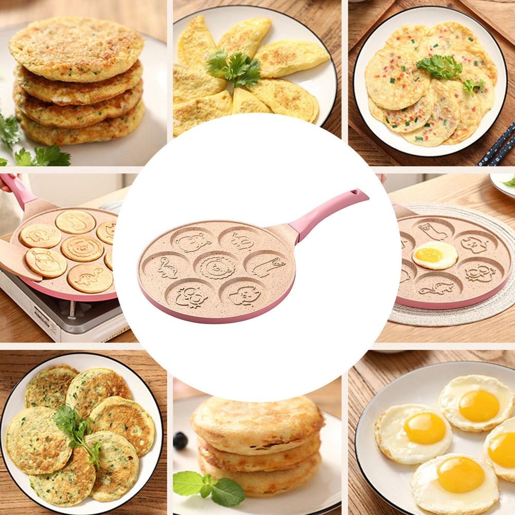 7 Holes Baking Household Omelette Pot Flat Base Kitchen Frying Pan Non-stick Waffle Porous Pancake Breakfast Cooking Dumplings