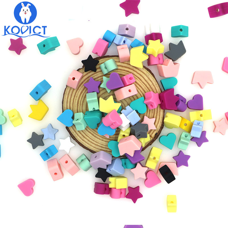 Kovict 30PC Silicone Beads Teething Teether Star Heart Crown Accessories Food Grade Pearl Silicone Star Teething Pacifier
