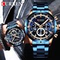 Новинка CURREN, модные мужские часы из нержавеющей стали, Топ бренд, роскошные спортивные кварцевые часы с хронографом, мужские часы