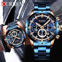 New CURREN Fashion Men Watches With Stainless Steel Top Brand Luxury Sports Chronograph Quartz Watch Men Relogio Masculino