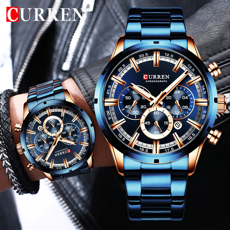 New CURREN Fashion Men Watches With Stainless Steel Top Brand Luxury Sports Chronograph Quartz Watch Men Relogio Masculino